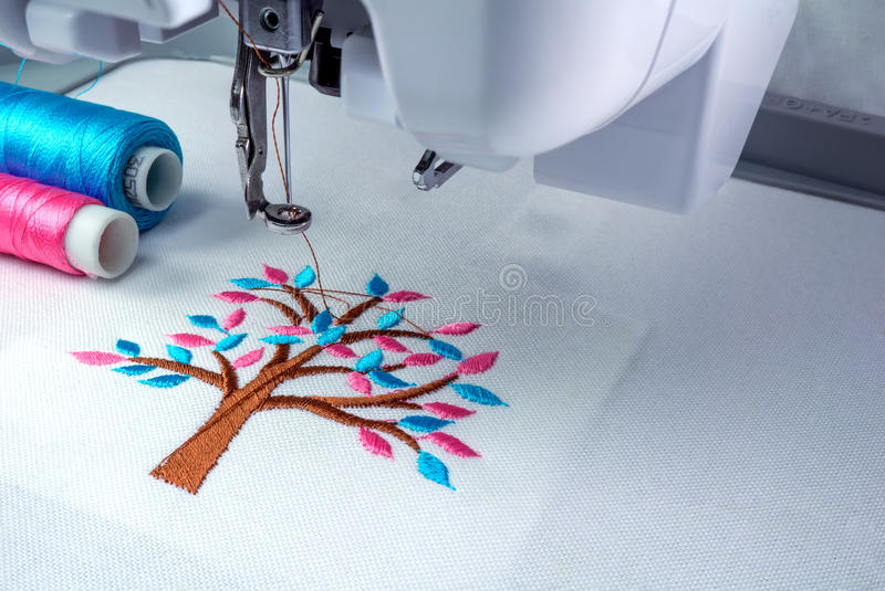 Close up picture workspace of embroidery machine royalty free stock image