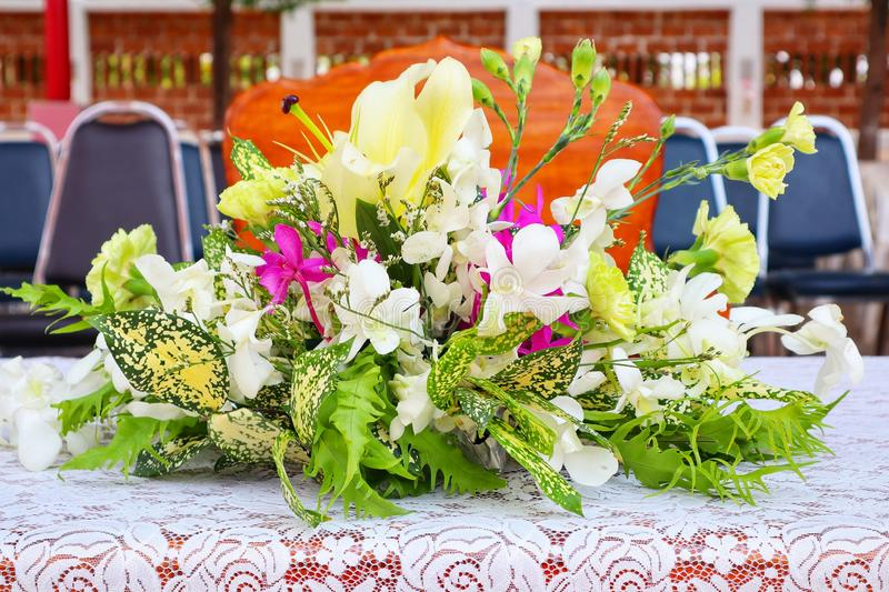 Close-up pictures of beautiful flowers placed on the table. Close-up pictures beautiful flowers placed table stock image