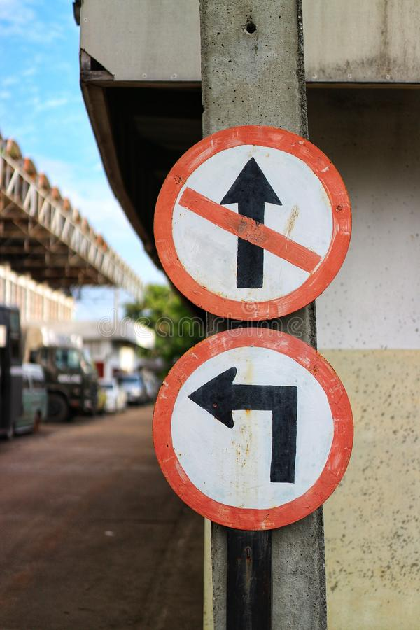 Close-up pictures, direct signs, and traffic signs, background, city streets royalty free stock photo