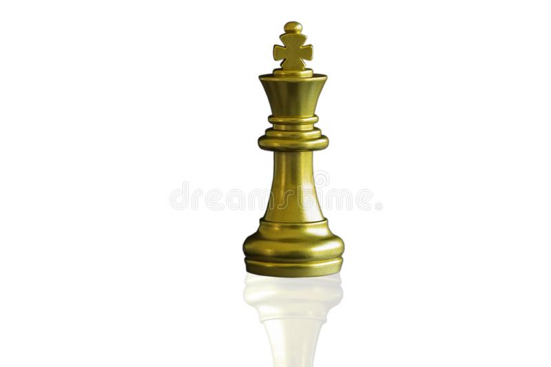 Close up piece of chess king on isolated white background with clipping path. The King in battle chess game stand on chessboard. royalty free stock image
