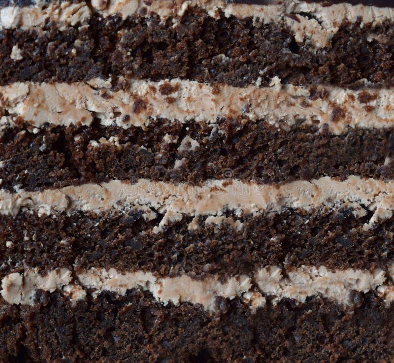 Close-up piece of chocolate cake: chocolate-nut biscuit, caramel cream. Homemade baking royalty free stock photos