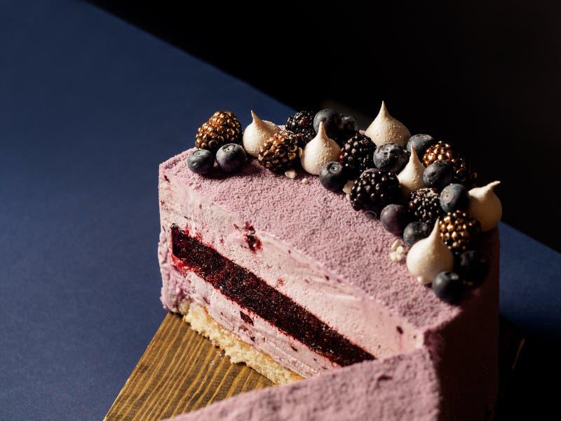 Blueberry mousse cake royalty free stock image