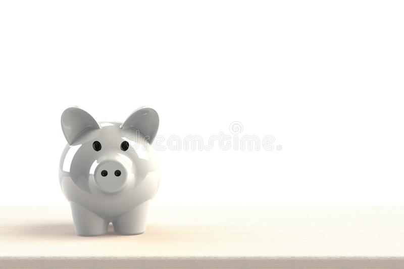 Close up of piggy bank isolated on white background, Copy space, Finance concept. 3d rendering stock illustration