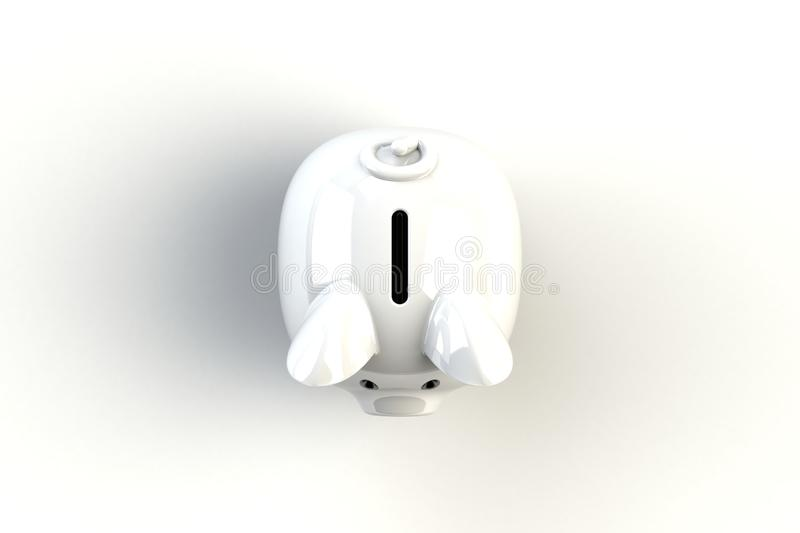 Close up of piggy bank isolated on white background, Top view with copy space, Finance concept. 3d rendering vector illustration
