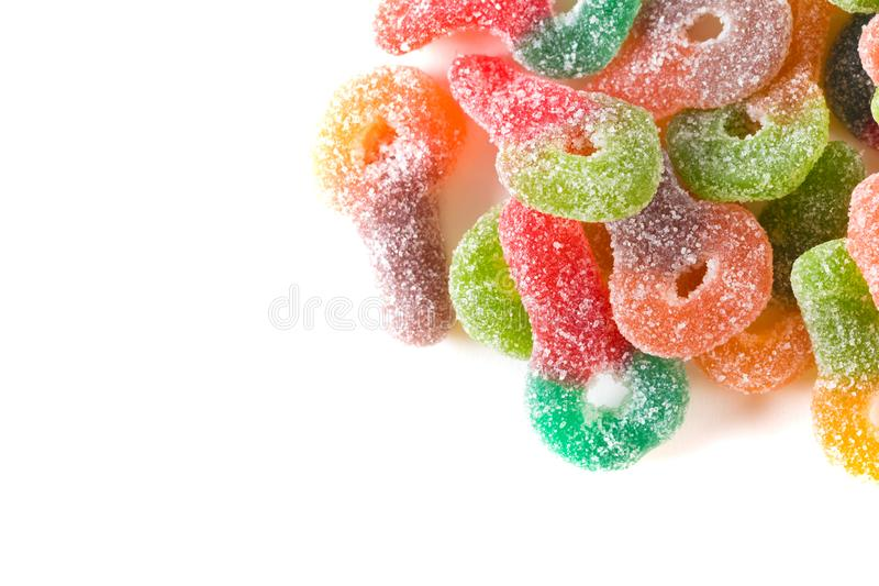 Macro of colorful sugar coated chewy gummy candy stock photo