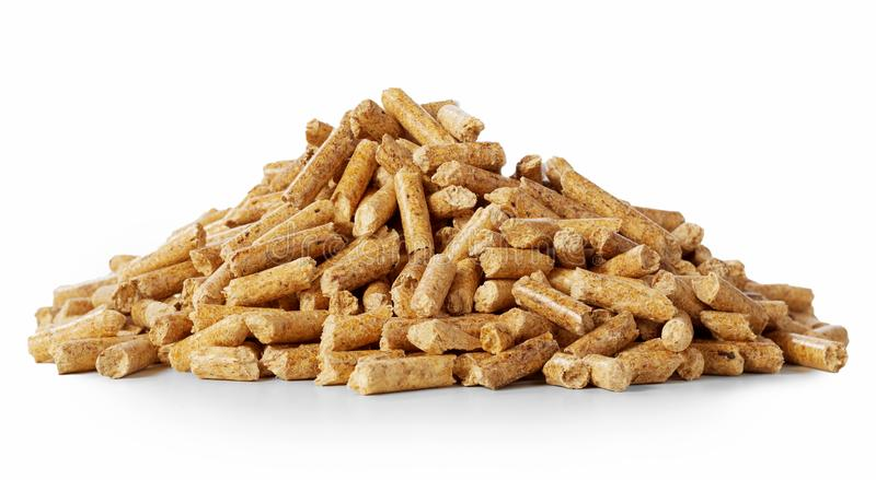 Close up on a pile of compressed wood pellets stock photos