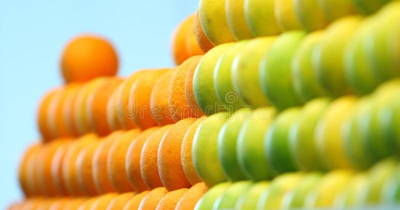 Close up of pile of oranges stock photos