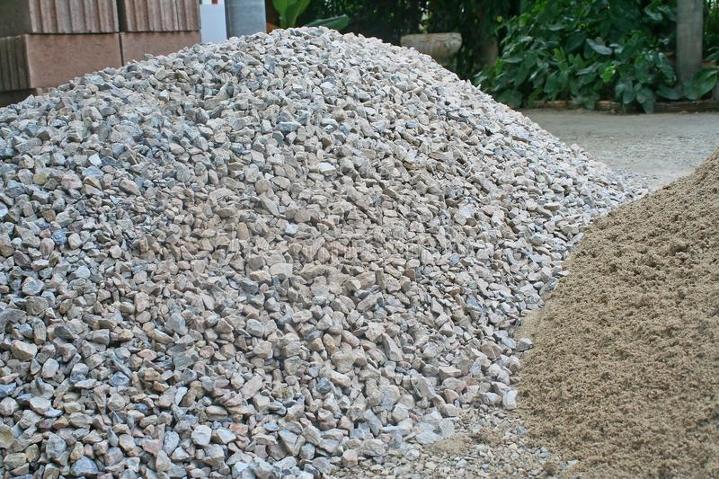 Pile rocks and sand on the ground ,prepare for building a house royalty free stock image
