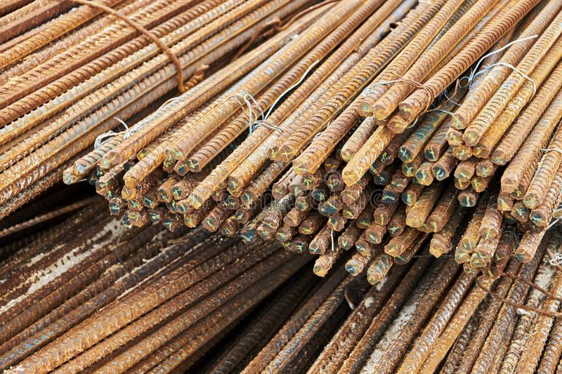 Close-up of a pile of rusty steel bars fixed with wire royalty free stock images