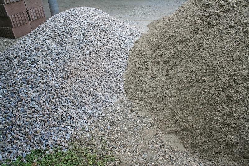 Pile sand and rocks on the ground ,prepare for building a house royalty free stock photos