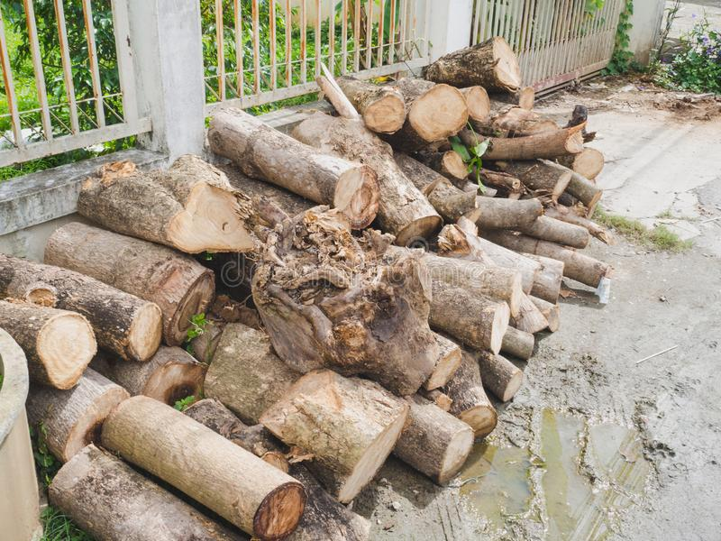 Close up from a pile of wood for fire in winter, ready for transport.  stock photos