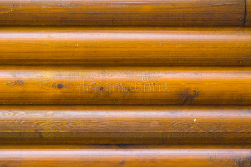 Close up of pine log home wall stock photo
