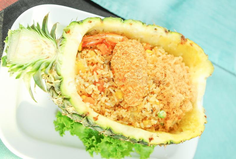 Pineapple with fried rice. Close up Pineapple with fried rice stock photos
