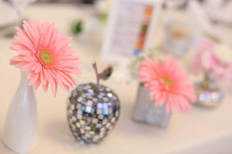 Close up of pink flower arangement stock photos
