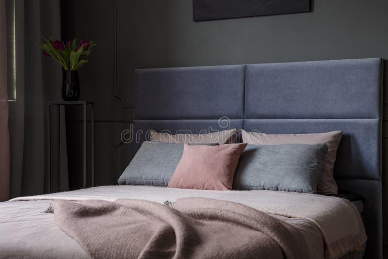 Pink And Grey Bedroom Interior Stock Photo Image Of Black Bedroom 119209228