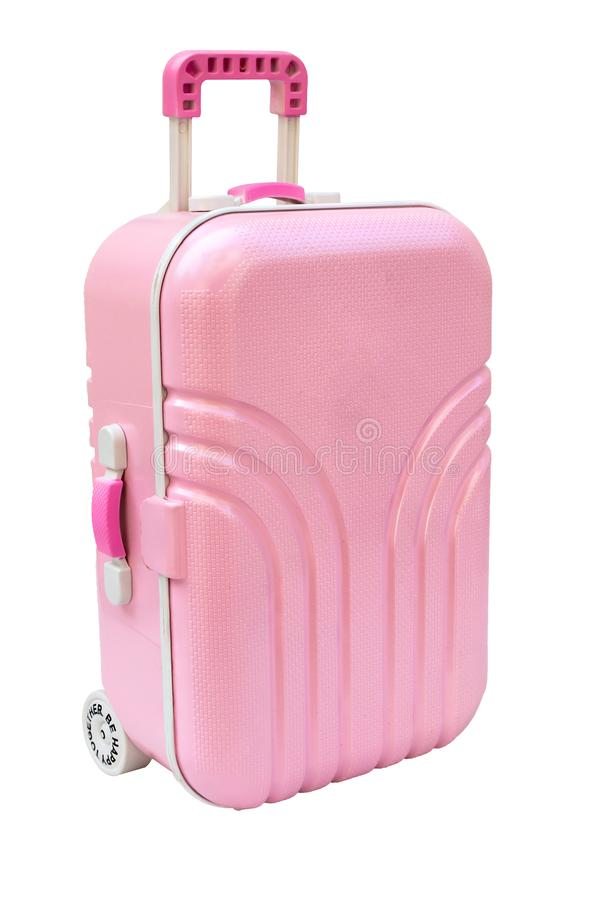 Pink luggage or baggage model toy isolated on white background. stock images