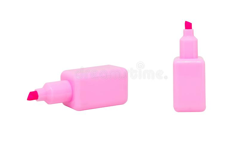 Pink magic pens or markers or highlighter isolated on white background. royalty free stock photos