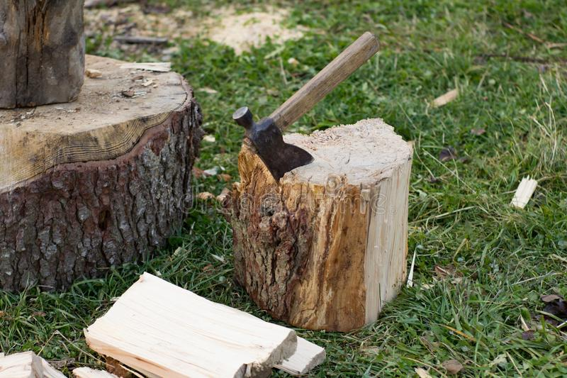 Close up piture of chopping firewood, country photo with wood and axe. Sawmill on mountains forest, tools for chopping wood and many dry logs royalty free stock photography