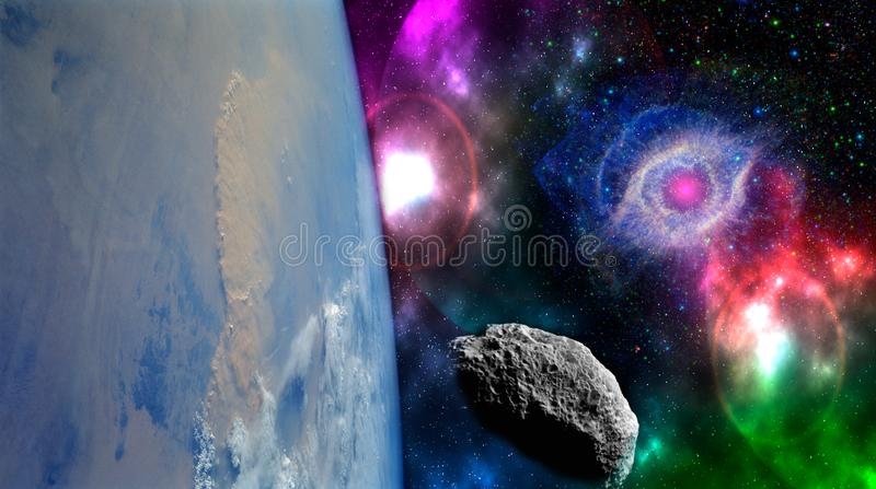Close up planet earth biosphere in space with stars and galaxy on background. Elements of this image furnished by NASA. f royalty free stock photo