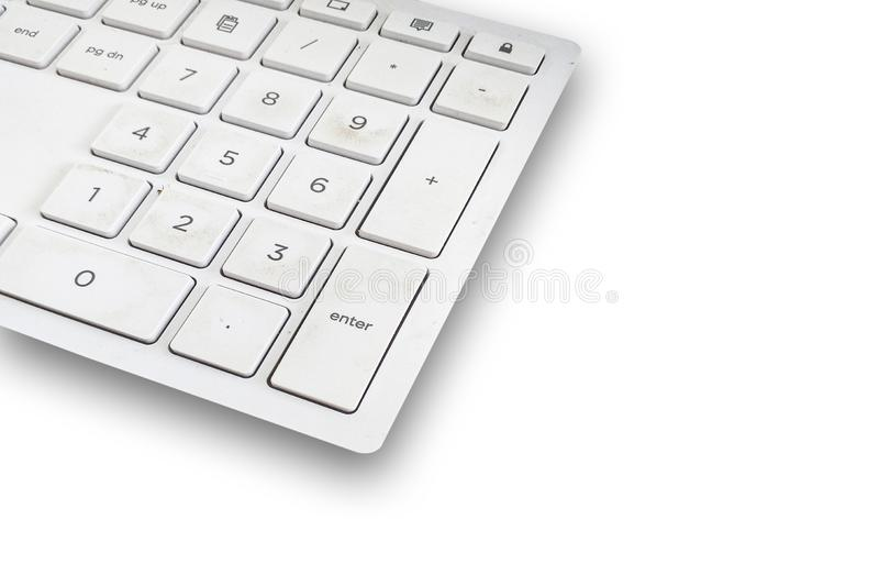 Close up Plastic Keyboard on a white background. Close up Plastic Keyboard on table a white background royalty free stock images