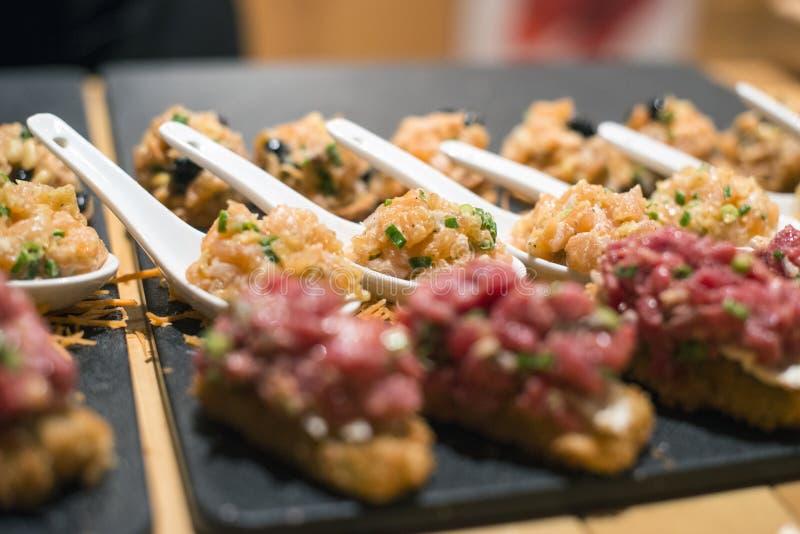 Platter of sushi rolls stock photography