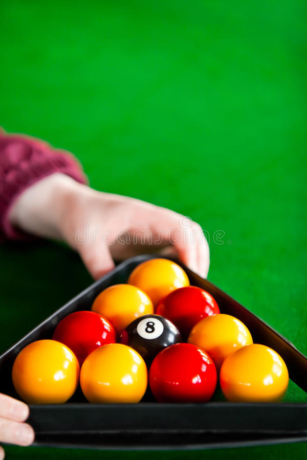Download Close-up Of A Player Placing Billiard Balls Stock Photo - Image: 16262052