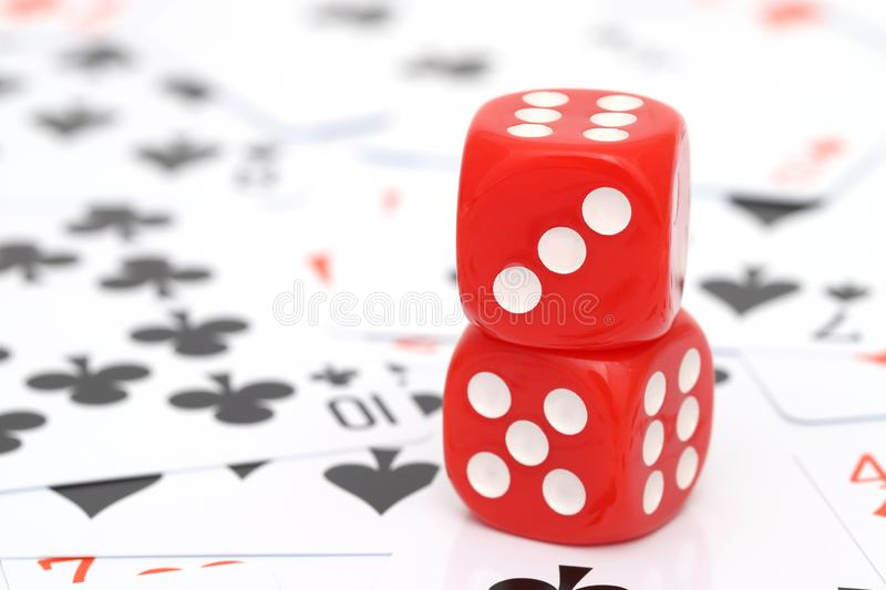 Playing cards and dice royalty free stock photo