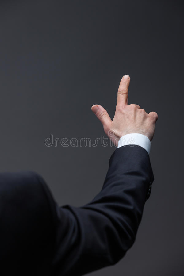 Close up of pointing hand royalty free stock photo