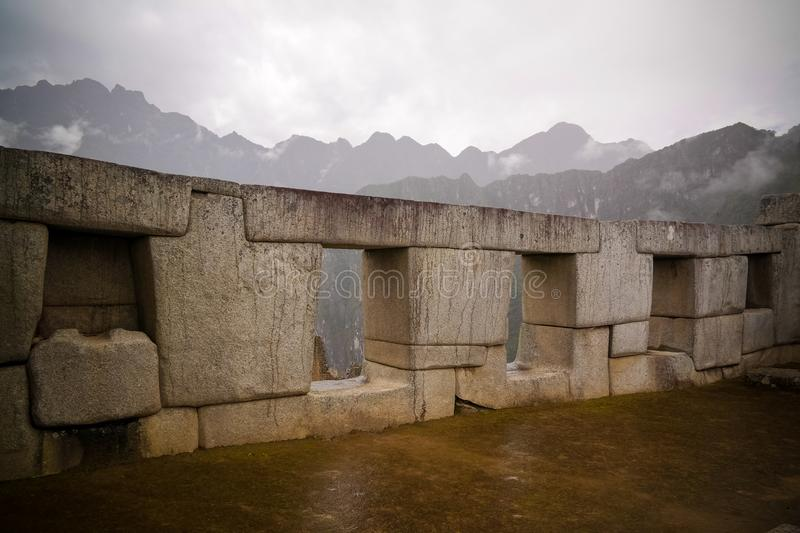 Close-up Polygonal masonry in Machu Picchu archaeological site , Cuzco, Peru stock images