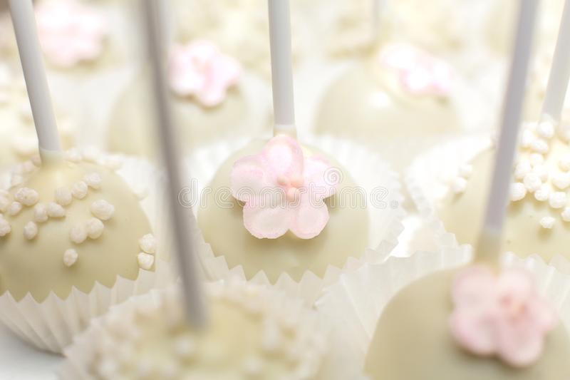 Close-up of pop cake or sticky cakes. Stylish pastries as a decoration for the holidays. Sweet bar.  stock photography