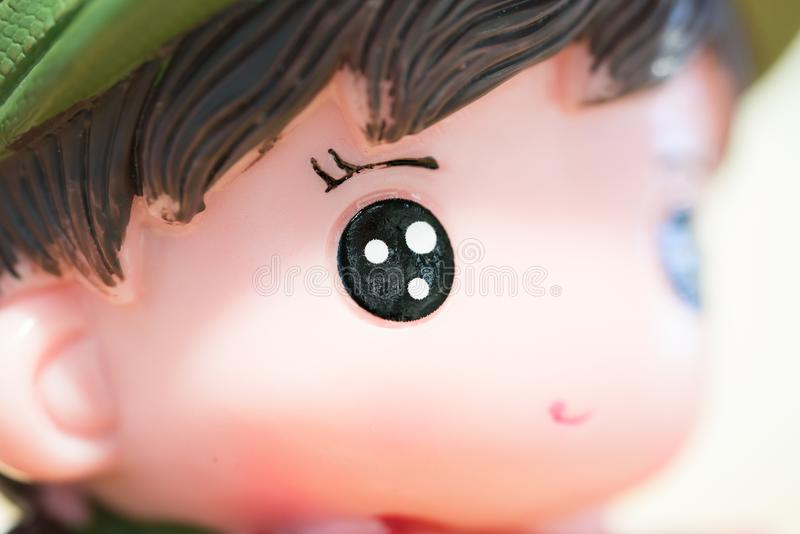 Close up of porcelain toy doll child, cute and lovely asia doll stock photos