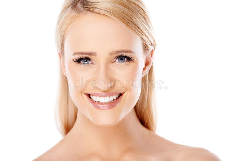 Close up portait of caucasian blond woman royalty free stock photos