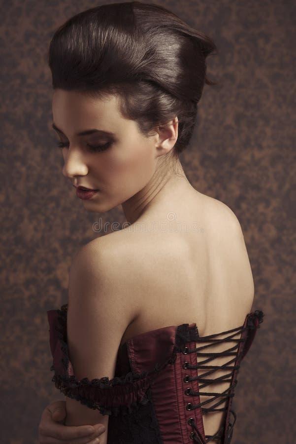 Close up portarit vintage pretty woman stock photo