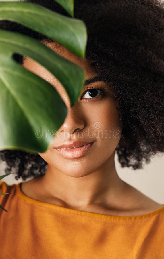 Close up portrait of an African American girl royalty free stock photos