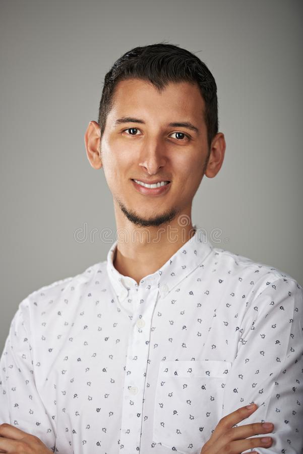 Close-up portrait of arab young man stock photo