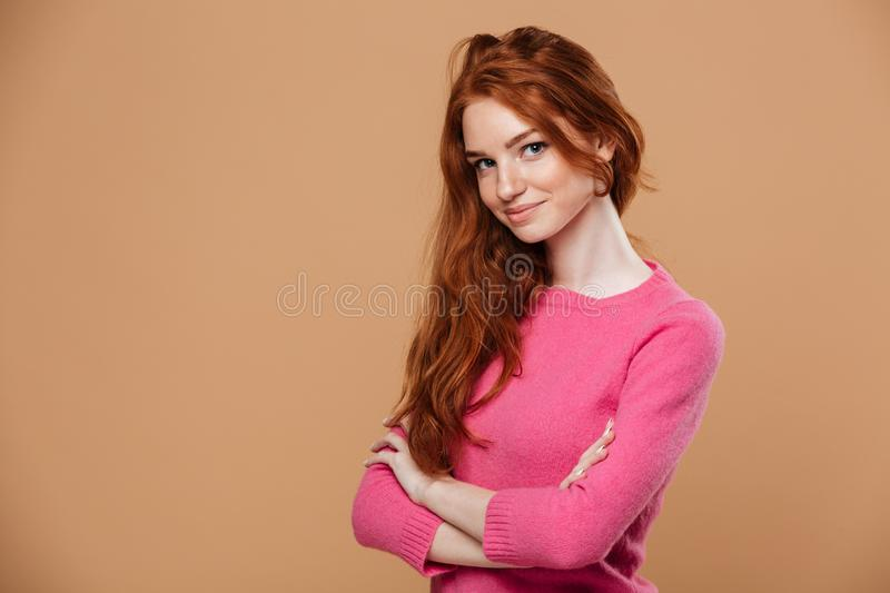Close up portrait of an attractive young redhead girl stock photo