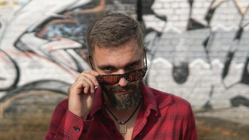 Close up portrait of bearded man smiling confident and looking over glasses stock images