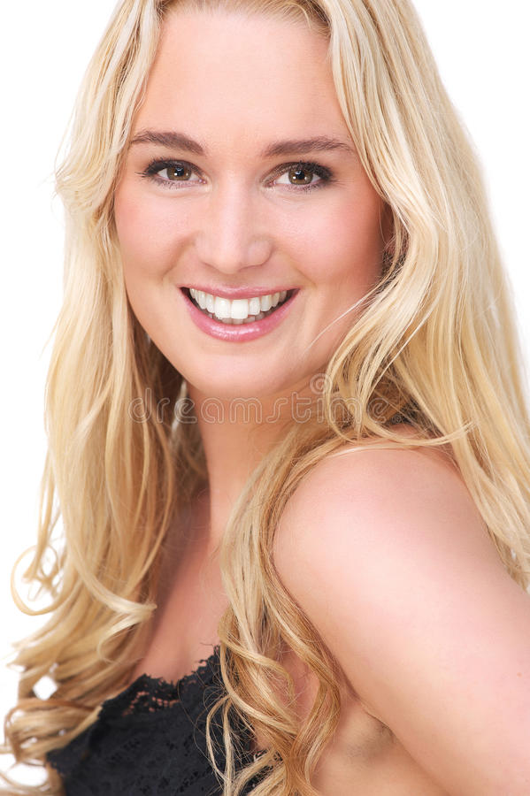 Close Up Portrait of a Beautiful Blond Girl Smiling