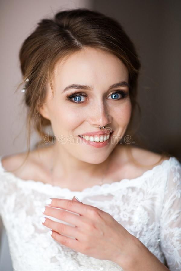 Close-up portrait of a beautiful bride royalty free stock photography