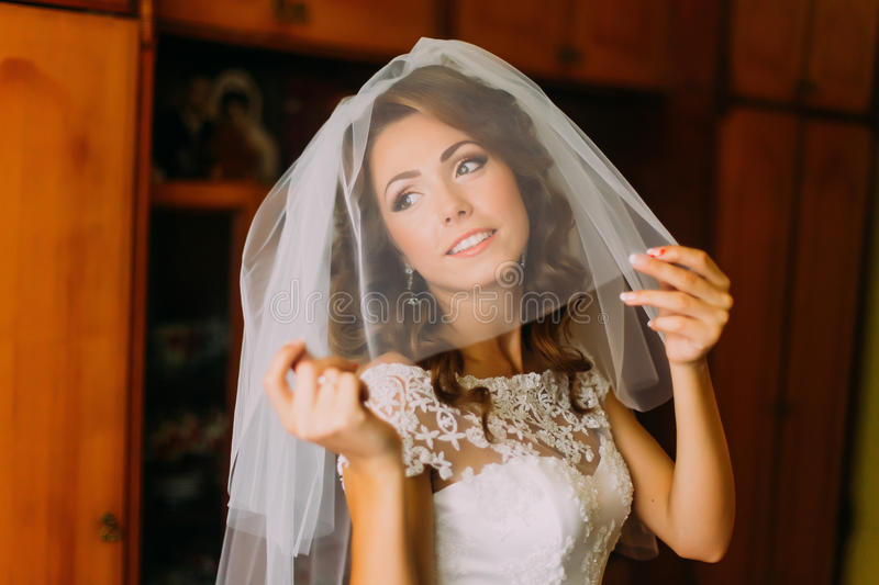 Close-up portrait of beautiful bride in wedding dress with a light veil stock images
