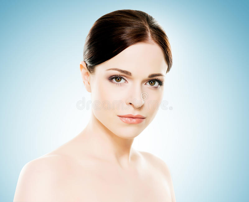 Close-up portrait of beautiful, fresh, healthy and sensual girl royalty free stock image