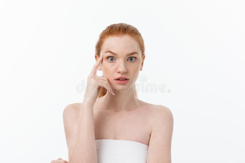 Close-up portrait of beautiful, fresh, healthy and sensual girl over white background royalty free stock photos