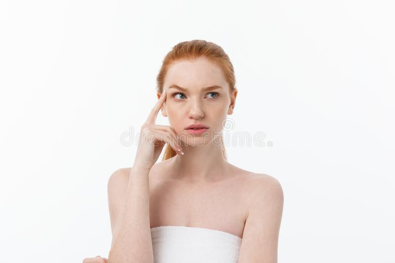 Close-up portrait of beautiful, fresh, healthy and sensual girl over white background royalty free stock photo