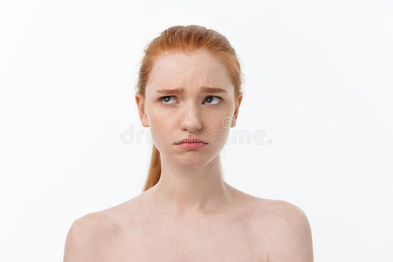 Close-up portrait of beautiful, fresh, healthy and sensual girl over white background royalty free stock image