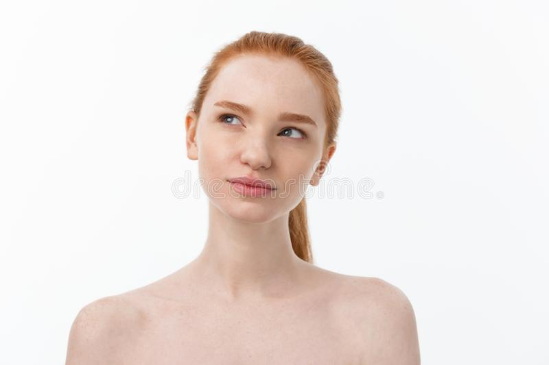 Close-up portrait of beautiful, fresh, healthy and sensual girl over white background royalty free stock photography