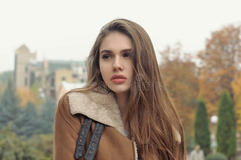 Close-up portrait of a beautiful girl with long brown hair stock image