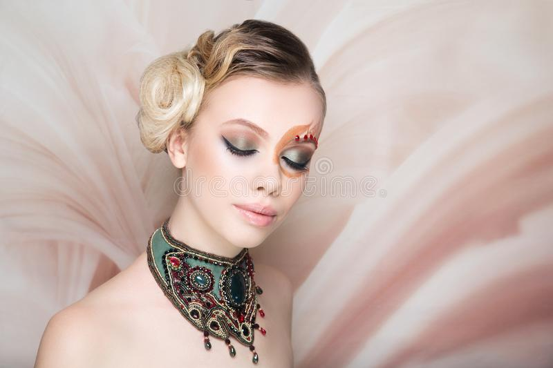 Woman beauty face art make up royalty free stock image