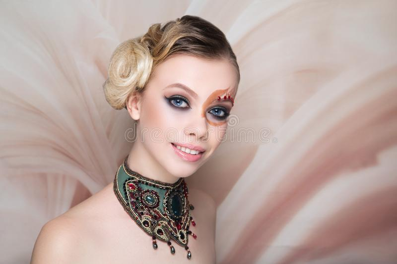 Woman beauty face art make up stock images