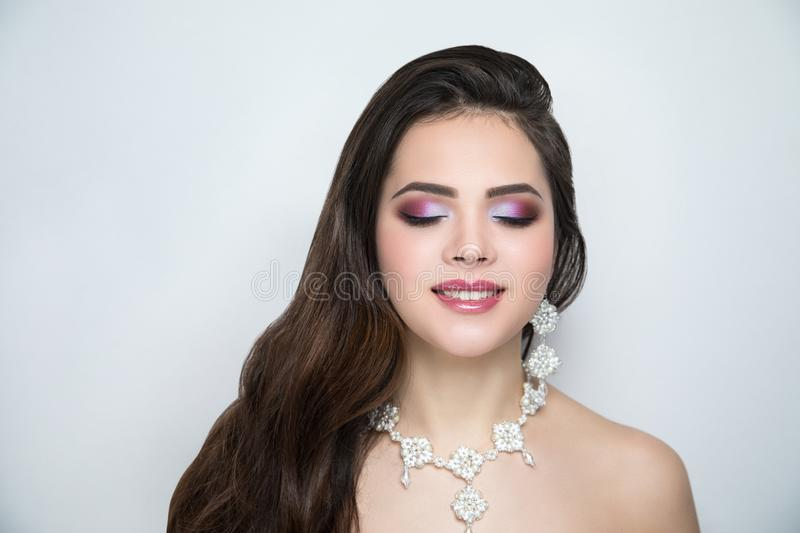 Woman bride make up stock image