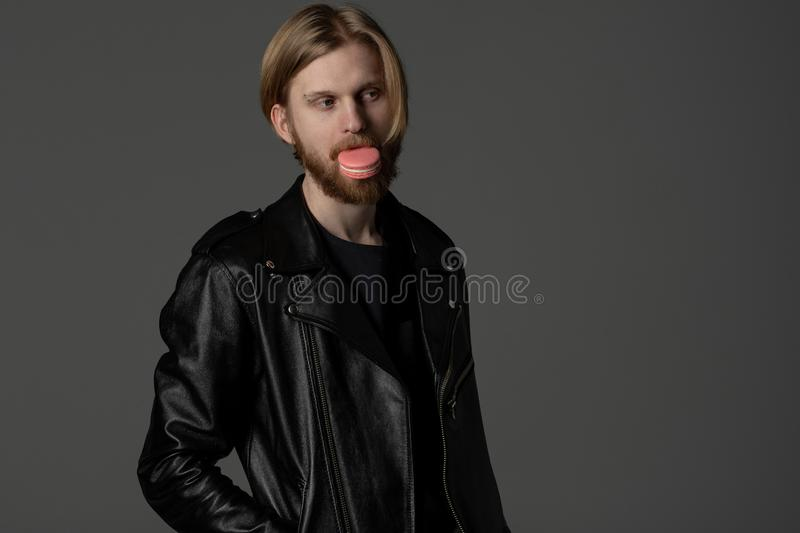 Close up portrait of beautiful guy with light hair and beard royalty free stock image